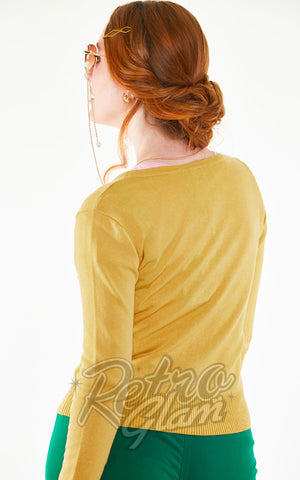 Voodoo Vixen Harriet Honey Bee Mustard Cardigan back