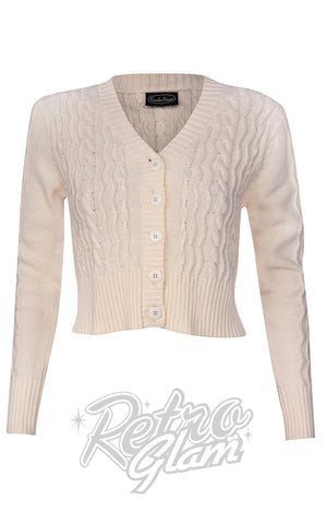 Voodoo Camilla Fisherman's Knit Cardigan in Cream