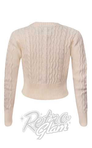 Voodoo Camilla Fisherman's Knit Cardigan in Cream back