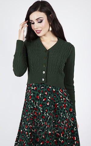 Voodoo Vixen Wavy Knit Cardigan in Green