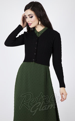 Voodoo Vixen Wavy Knit Cardigan in Black