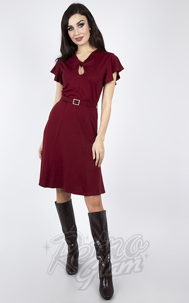 Voodoo Vixen Workwear Front Twist Dress in Burgundy