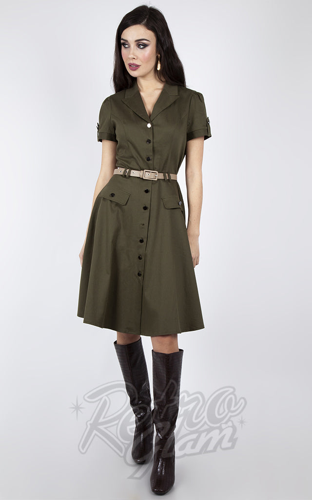 Voodoo Vixen Army Flare Dress in Green