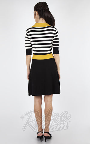 Voodoo Vixen Black & White Striped Mustard Collar Sweater Dress back
