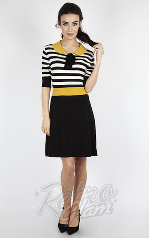 Voodoo Vixen Black & White Striped Mustard Collar Sweater Dress