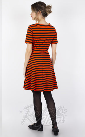 Voodoo Vixen Orange & Black Striped Necktie Dress