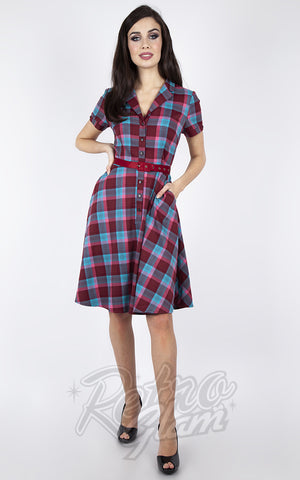 Voodoo Vixen Burgundy & Blue Plaid Button Down Dress