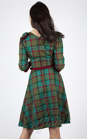 Voodoo Vixen 3/4 Sleeve Bow Green & Burgundy Plaid Swing Dress back