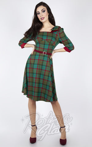 Voodoo Vixen 3/4 Sleeve Bow Green & Burgundy Plaid Swing Dress