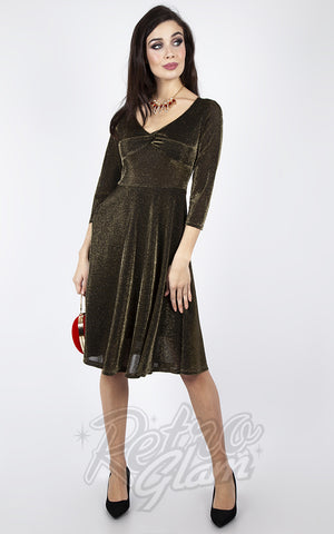 Voodoo Vixen Metallic Knit Flare Dress in Gold