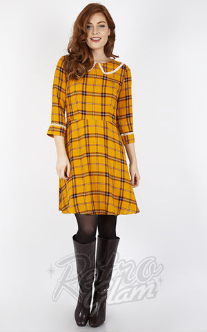 Voodoo Vixen Harley Plaid Collar Dress in Yellow