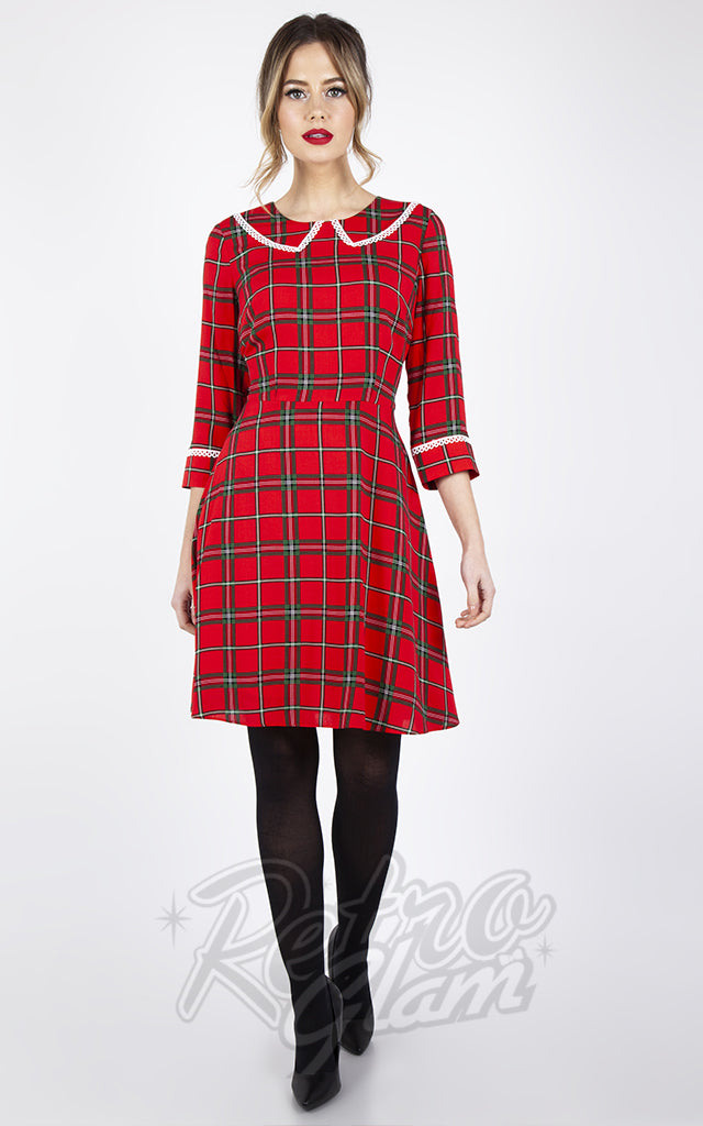 Voodoo Vixen Harley Plaid Collar Dress in Red