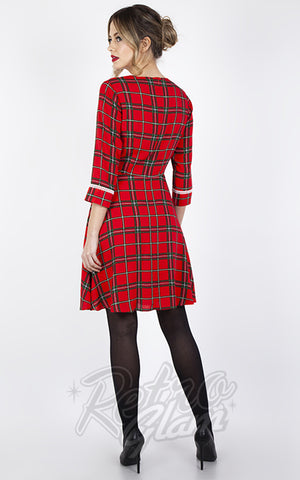 Voodoo Vixen Harley Plaid Collar Dress in Red back