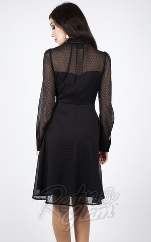 Voodoo Vixen x Acid Doll Black Swiss Dot Flocked Long Sleeve Dress back