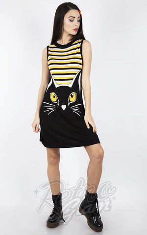 Jawbreaker Telepathic Striped  Cat Dress 60s