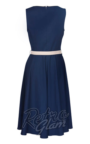Voodoo Vixen Seaside Navy Skater Dress back