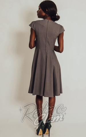 Voodoo Vixen Geneva Dress in Grey back