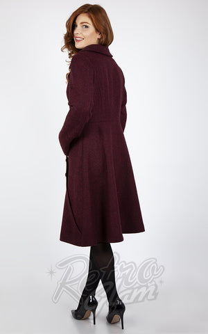 Voodoo Vixen Herringbone Dress Coat in Burgundy back