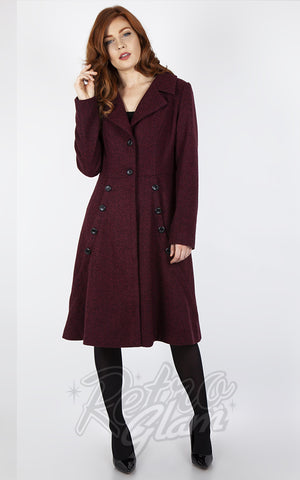 Voodoo Vixen Herringbone Dress Coat in Burgundy