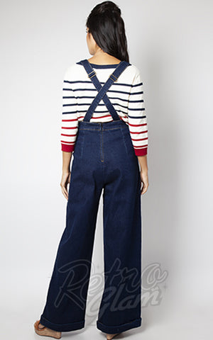 Voodoo Vixen Heart Pocket Denim Overalls back