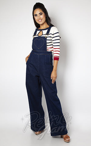 Voodoo Vixen Heart Pocket Denim Overalls
