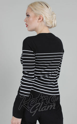 Voodoo Vixen Bethsy Black & White Striped Sweater back
