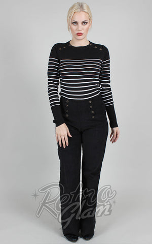 Voodoo Vixen Bethsy Black & White Striped Sweater