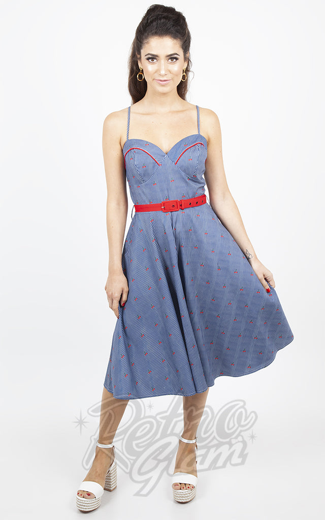 Voodoo Vixen Blue Shelley Cherry Striped Dress