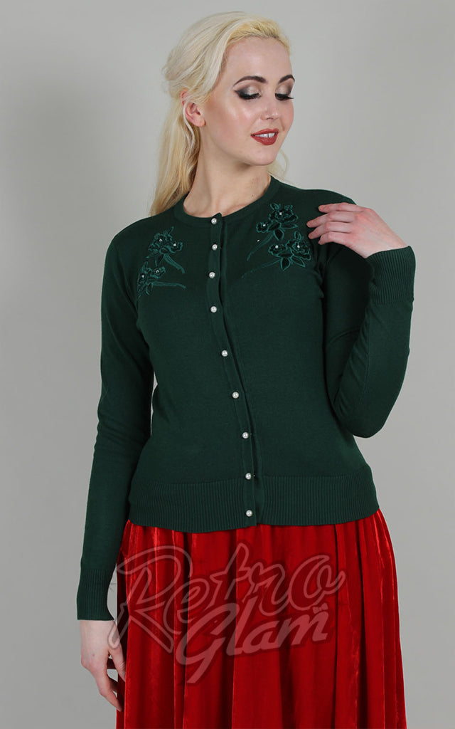 Voodoo Vixen Bonita Applique Cardigan in Green