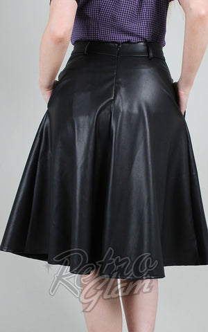 Voodoo Vixen Bushra Faux Leather Flared Skirt in Black back
