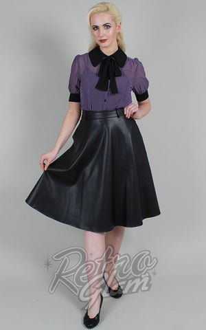 Voodoo Vixen Bushra Faux Leather Flared Skirt in Black