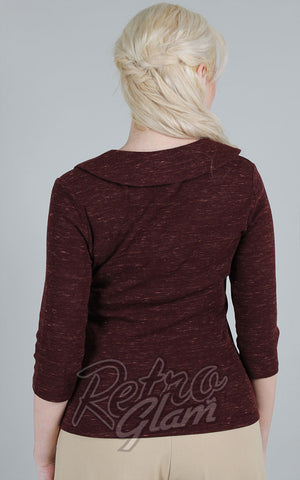 Voodoo Vixen Caniya Retro V Neck Top in Burgundy back