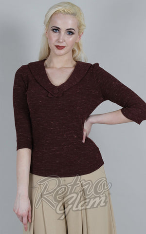 Voodoo Vixen Caniya Retro V Neck Top in Burgundy