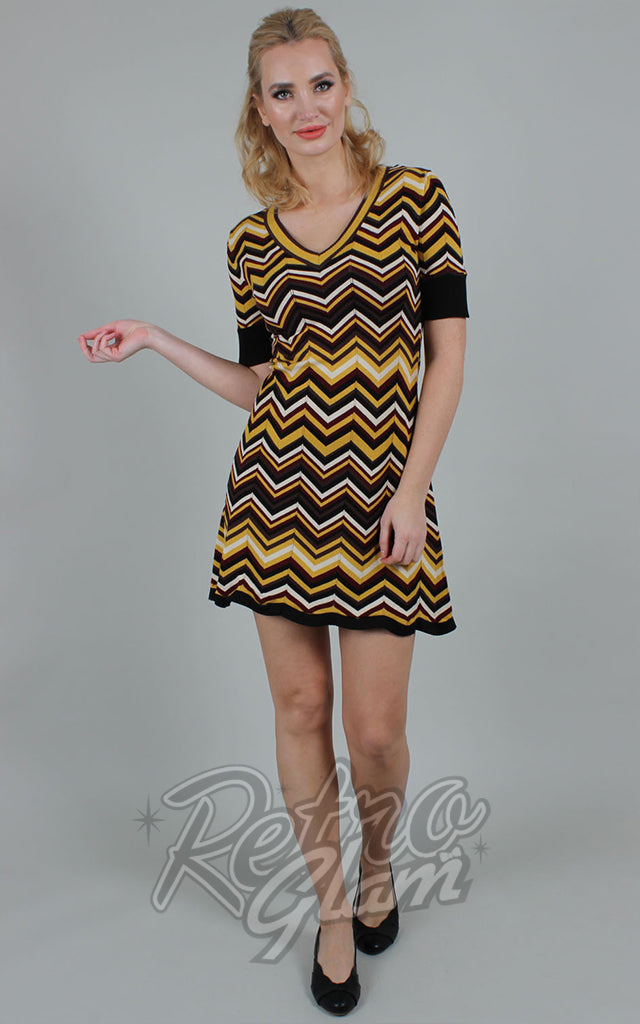 Voodoo Vixen Chevron Chambray Sweater Dress