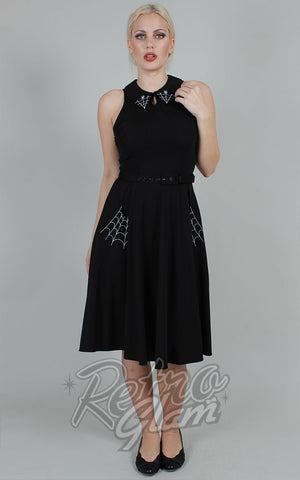 Voodoo Vixen Black Charlie Dress with Spider Web Embroidery