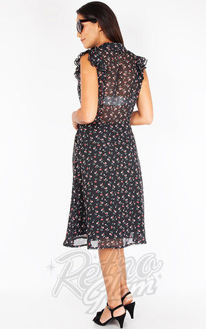 Voodoo Vixen Cheryl Cherry Print Tea Dress back
