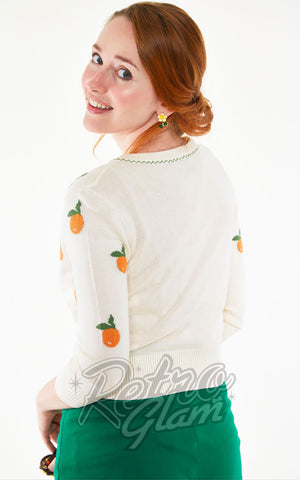 Voodoo Vixen Fran Citrus Orange Embroidered Cardigan back