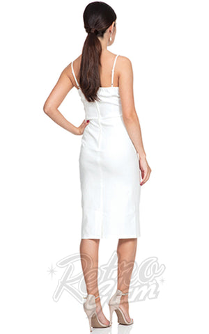 Voodoo Vixen Davina White Wiggle Dress back