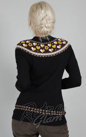 Voodoo Vixen Farrow Intarsia Heart & Flower Sweater back