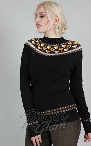Voodoo Vixen Farrow Intarsia Heart & Flower Sweater