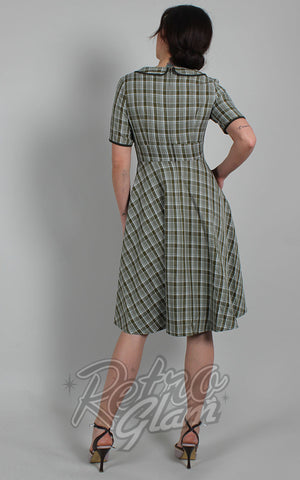 Voodoo Vixen Kaylee Green Plaid Fit & Flare Dress back