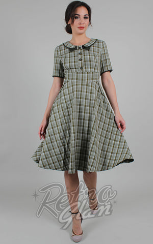 Voodoo Vixen Kaylee Green Plaid Fit & Flare Dress