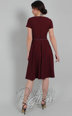 Voodoo Vixen Marine Fit & Flare Dress in Burgundy back