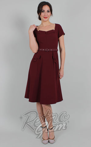 Voodoo Vixen Marine Fit & Flare Dress in Burgundy