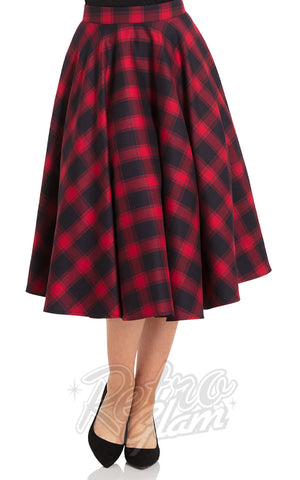 Voodoo Vixen May Skirt in Red Plaid