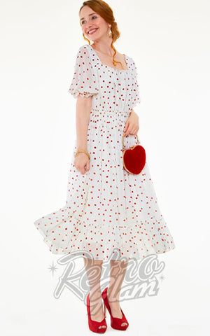Voodoo Vixen White Pamela Dress with Strawberry Print