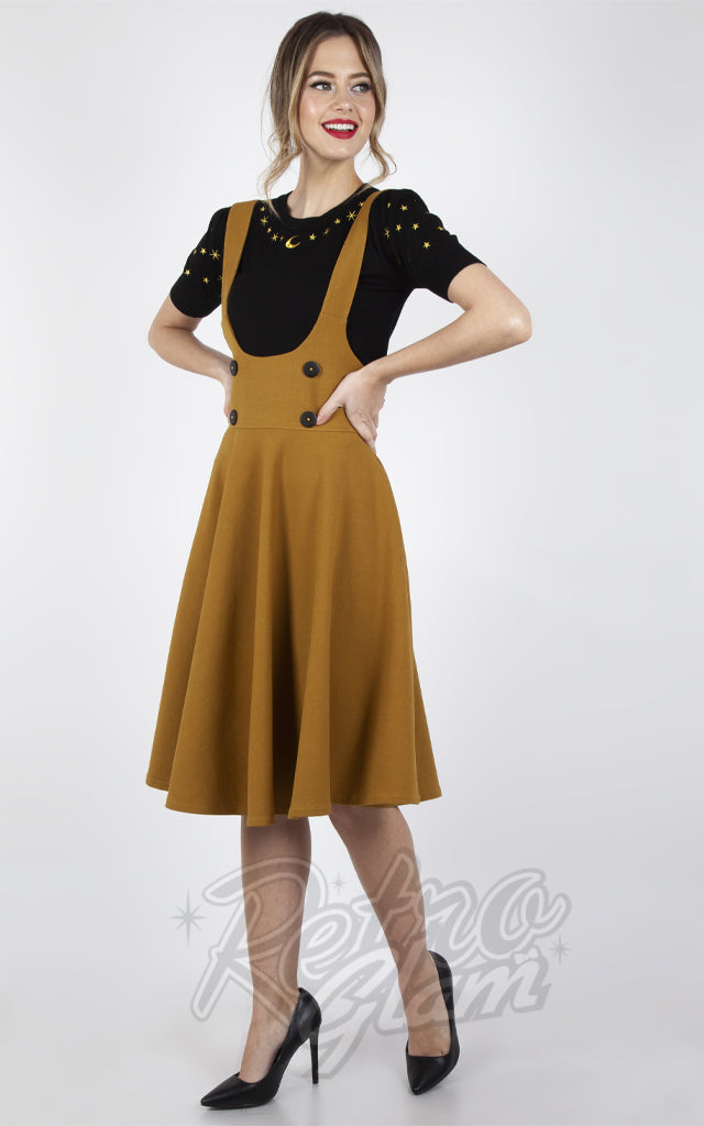 Voodoo Vixen Phoebe High Waisted Overall Skirt in Mustard