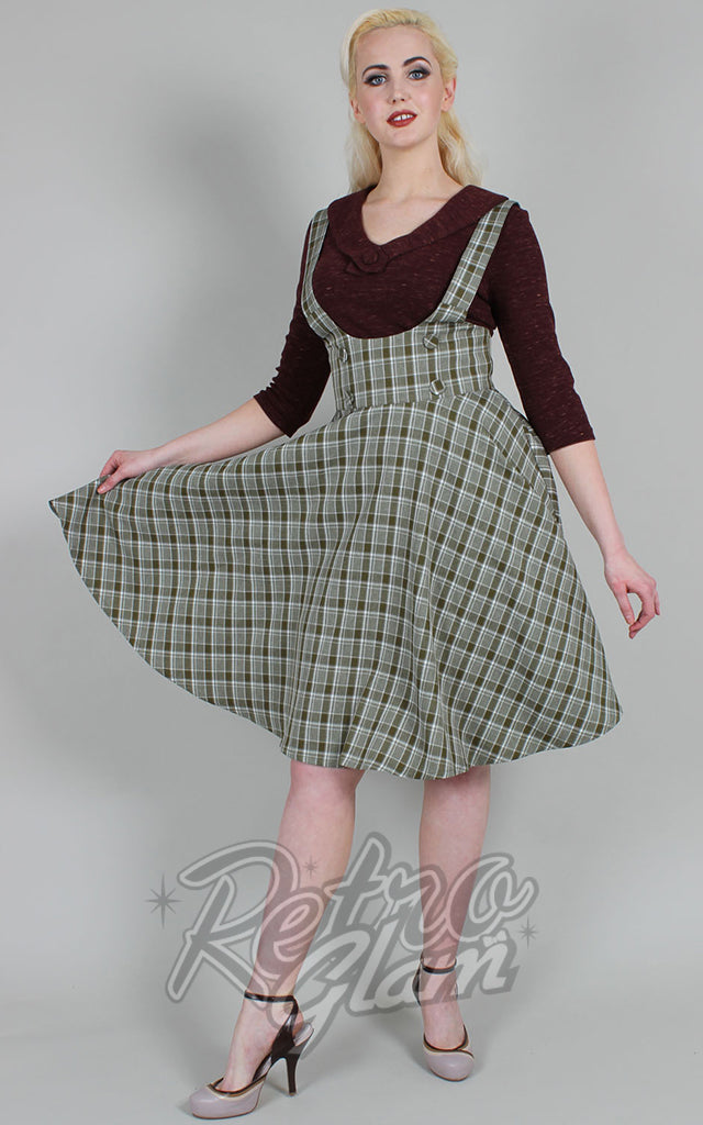 Voodoo Vixen Phoebe Plaid High Waisted Overall Skirt