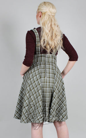 Voodoo Vixen Phoebe Plaid High Waisted Overall Skirt back