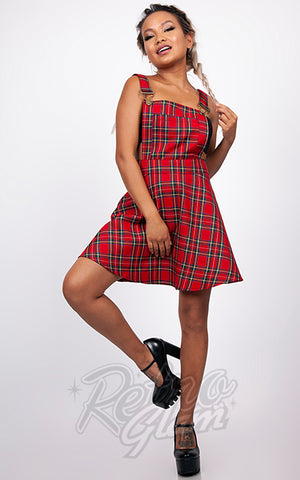 Jawbreaker Red Plaid Overall Dress